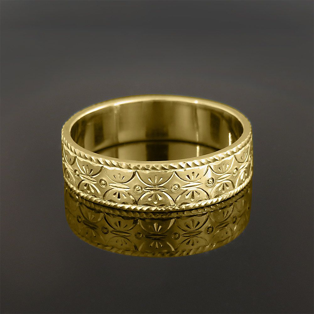 18K gold ring Womens wedding ring Hand engraved jewelry Bridal