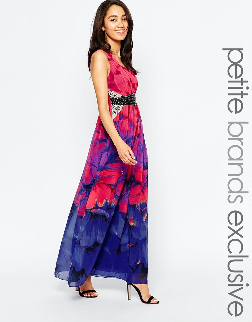 Little+Mistress+Petite+Plunge+Front+Maxi+Dress+In+Print