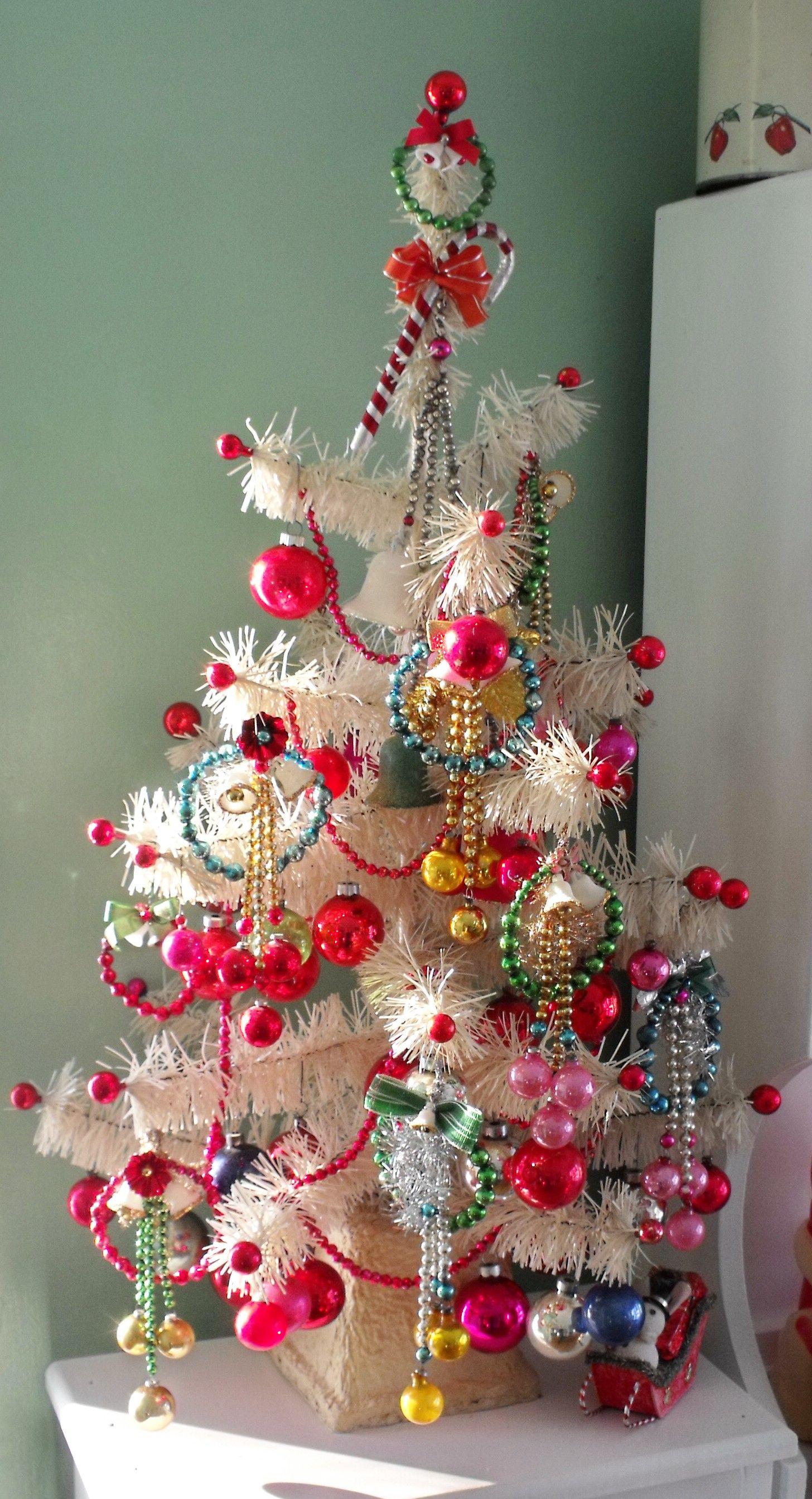 Christmas tree with retro paper, glass etc including ...