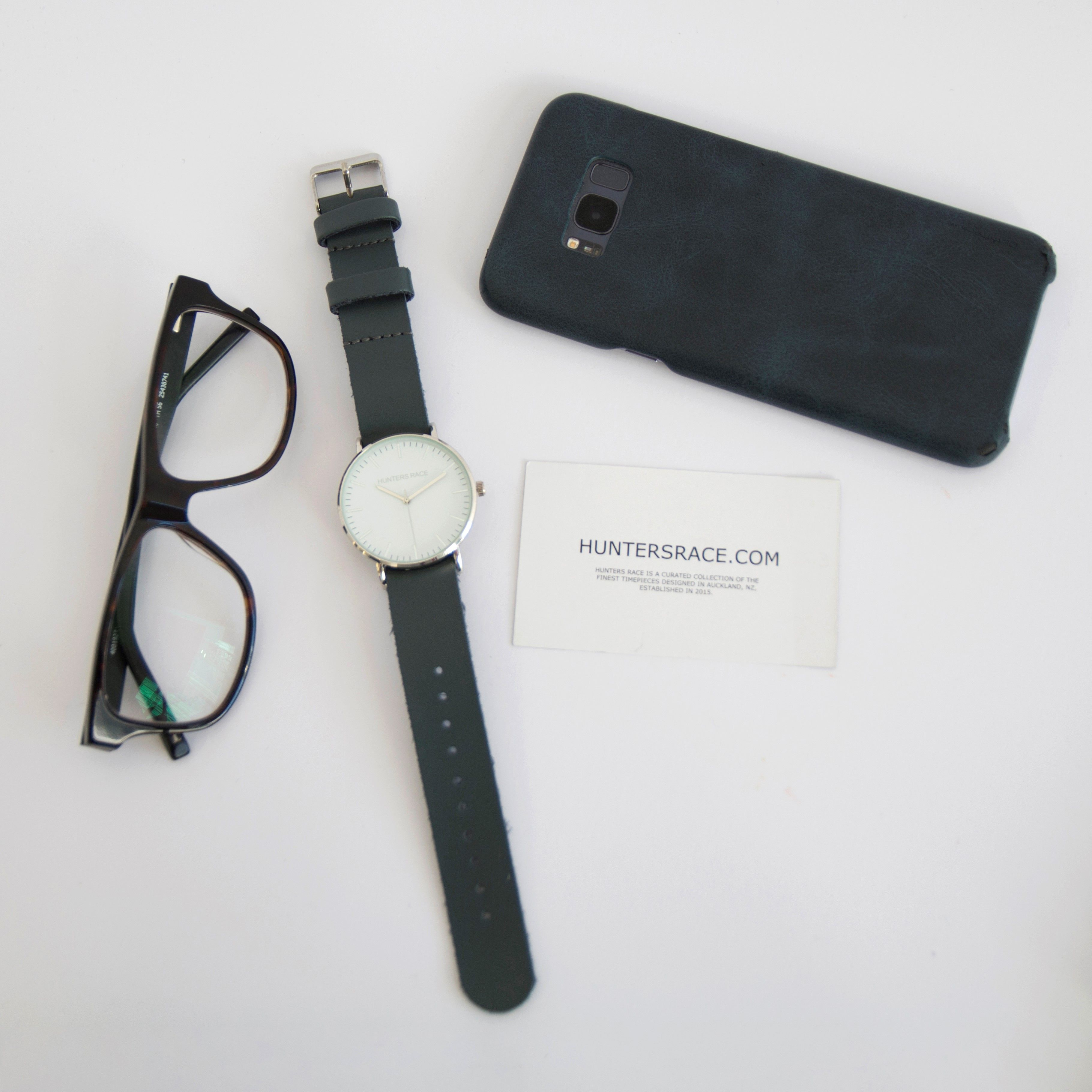 Hunters race watch with grey leather strap nzdesigned