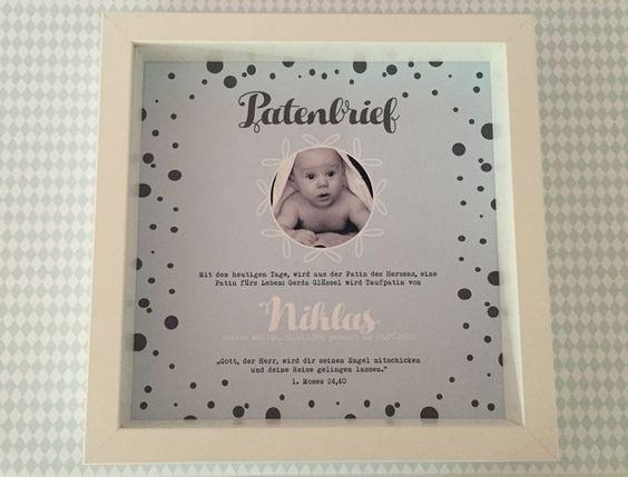 personalisierter patenbrief mit rahmen punkte individuelle geschenke vornamen und hellblau. Black Bedroom Furniture Sets. Home Design Ideas