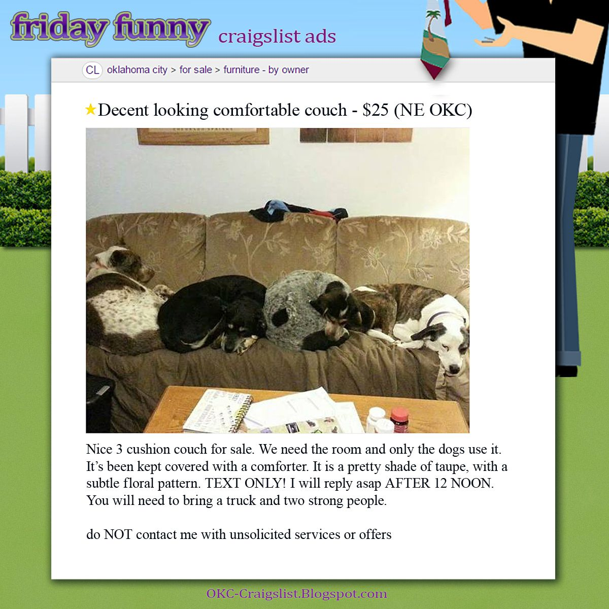 Funny Craigslist Ads Couch Has Gone To The Dogs Funny Craigslist Ads Dog Couch Craigslist Funny