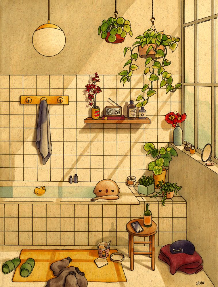 Bathroom Mini Art Print by feliciachiao
