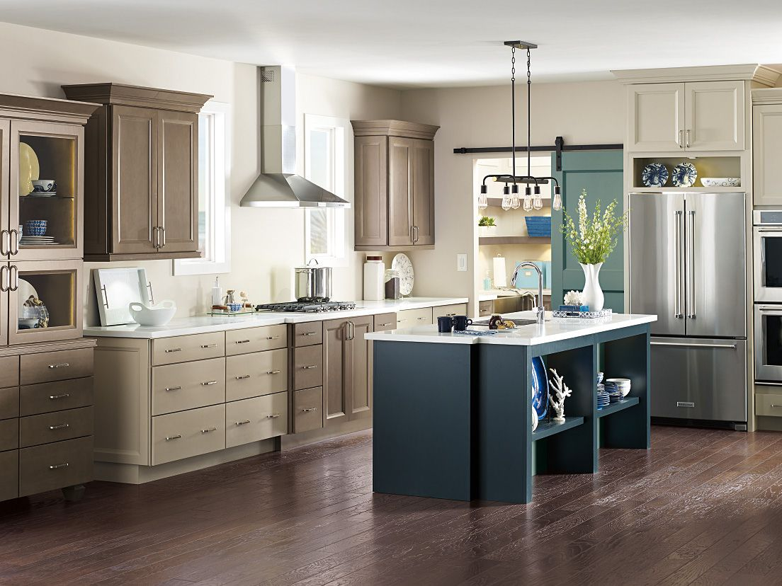 diamond transitional kitchens diamond kitchen cabinets Diamond Reflections Mercer Maple Seal Maritime and Egret