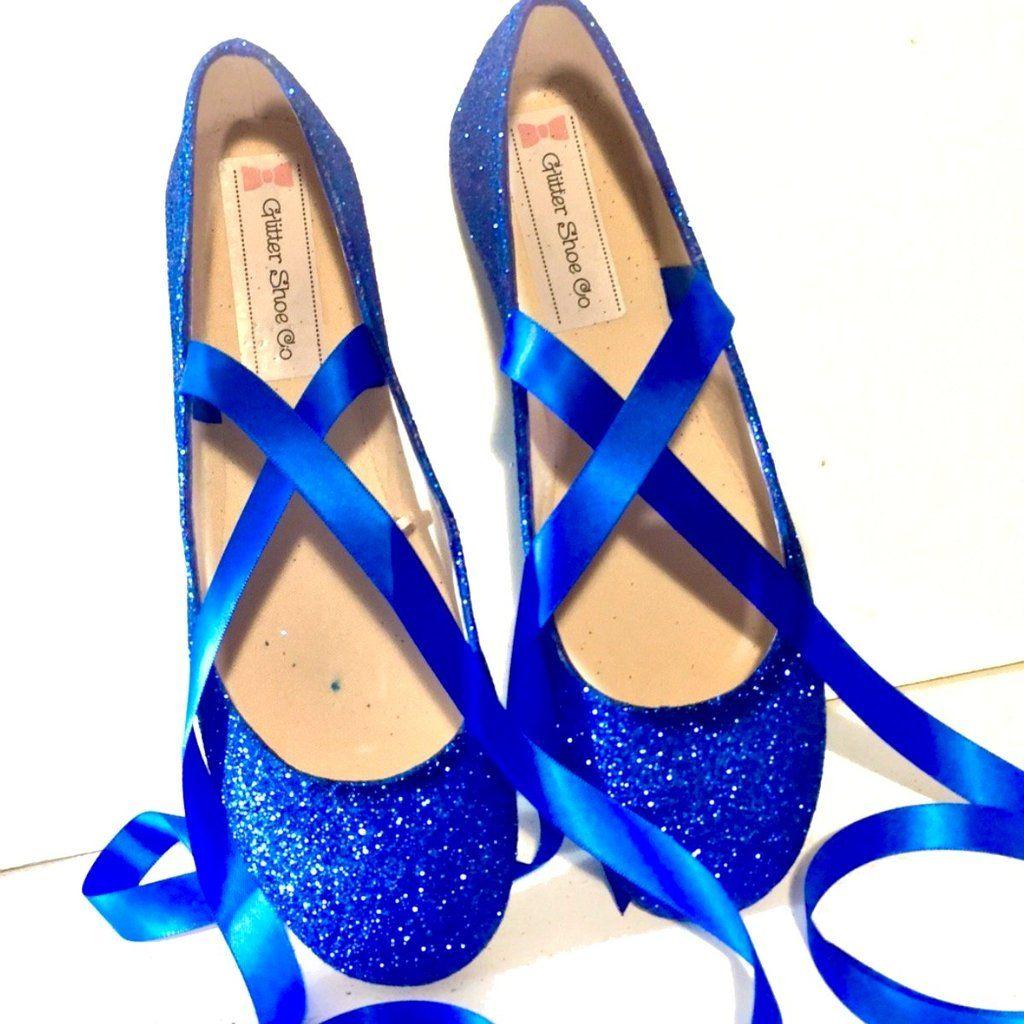 sparkly navy blue flats