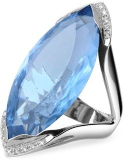 eJero : Blue Topaz and Diamond White Gold Fashion Ring