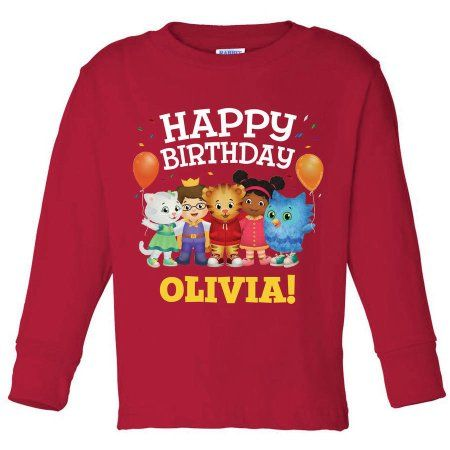 Personalized Daniel Tiger's Neighborhood Birthday Toddler Red Long Sleeve Tee