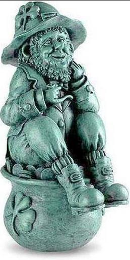Charmant Leprechaun On Pot Of Gold Garden Statue