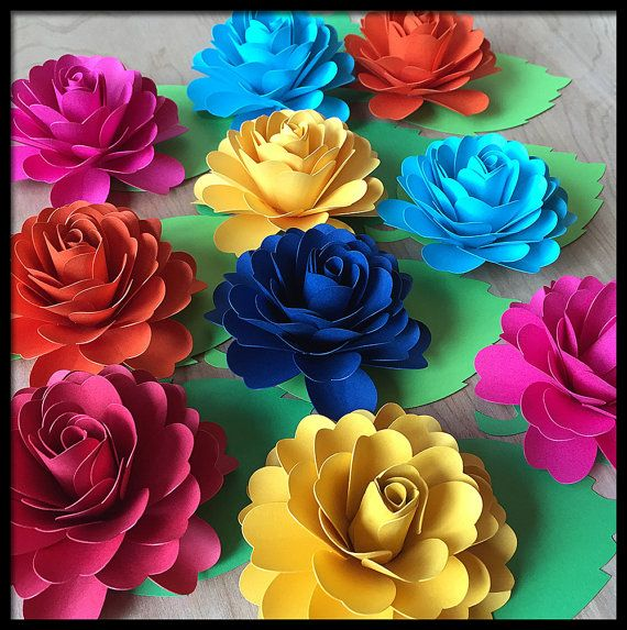 Fiesta party decorations 10 paper flowers with leaves place fiesta party decorations 10 paper flowers with leaves place cards quinceanera flower centerpiece dia de los muertos decoration mightylinksfo Choice Image