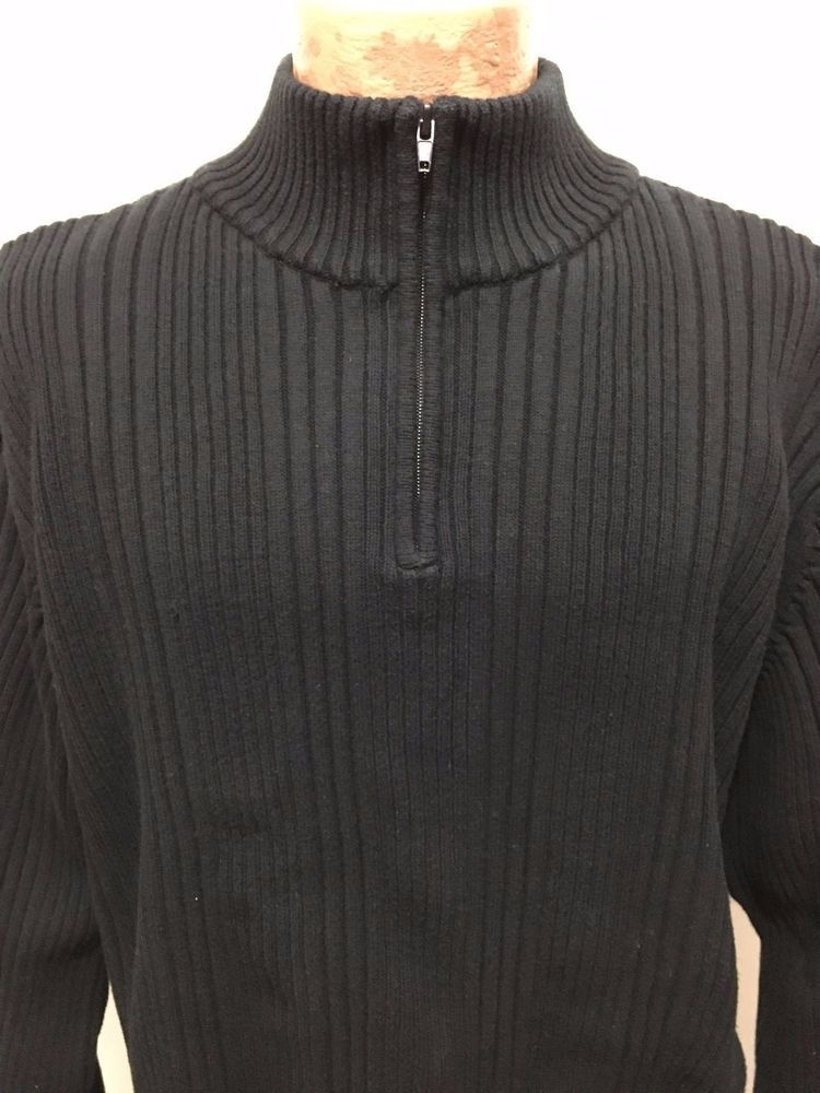 Wilke Rodriguez Mens XLT Black Cotton 1/2 Zip Pullover Sweater ...