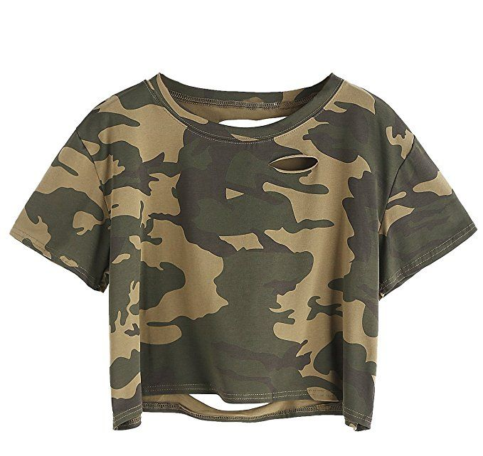ca45f4da49247 SweatyRocks Women s Summer Short Sleeve Tee Distressed Ripped Crop T-shirt  Tops (Small