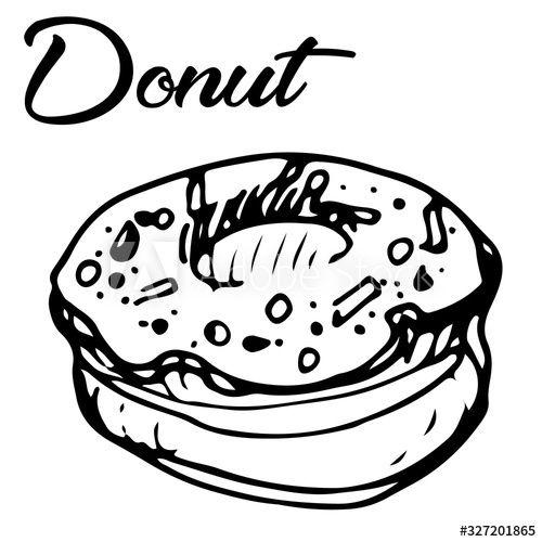 Vector sketch doodle illustration of a donut , #Sponsored, #sketch, #Vector, #doodle, #donut, #illustration #Ad