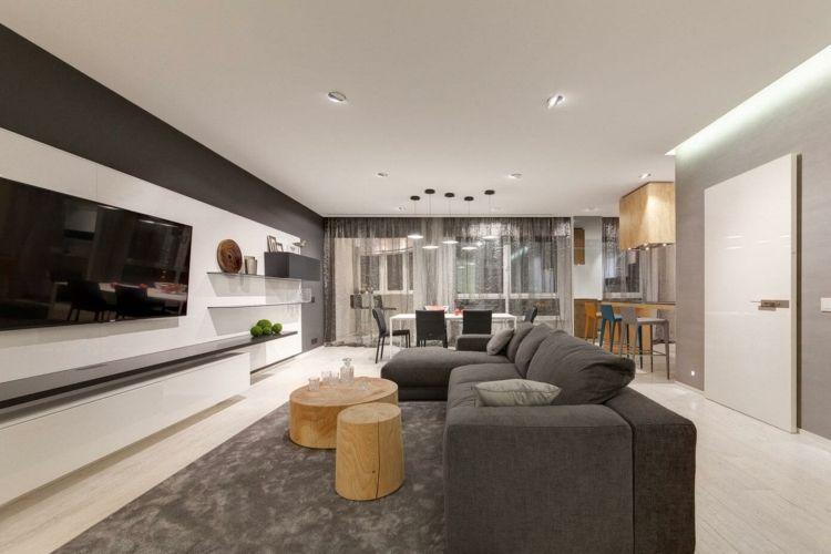 wohnung einrichten in grau teppich-wohnwand-weiss-hochglanz - wohnzimmer einrichten grau weiss