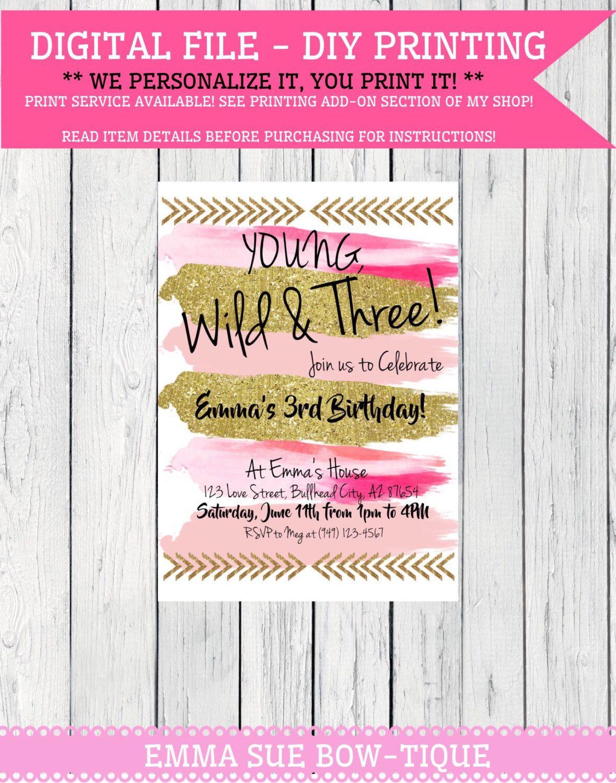 Boho Young Wild & Three Personalized birthday invitation- ***Digital ...