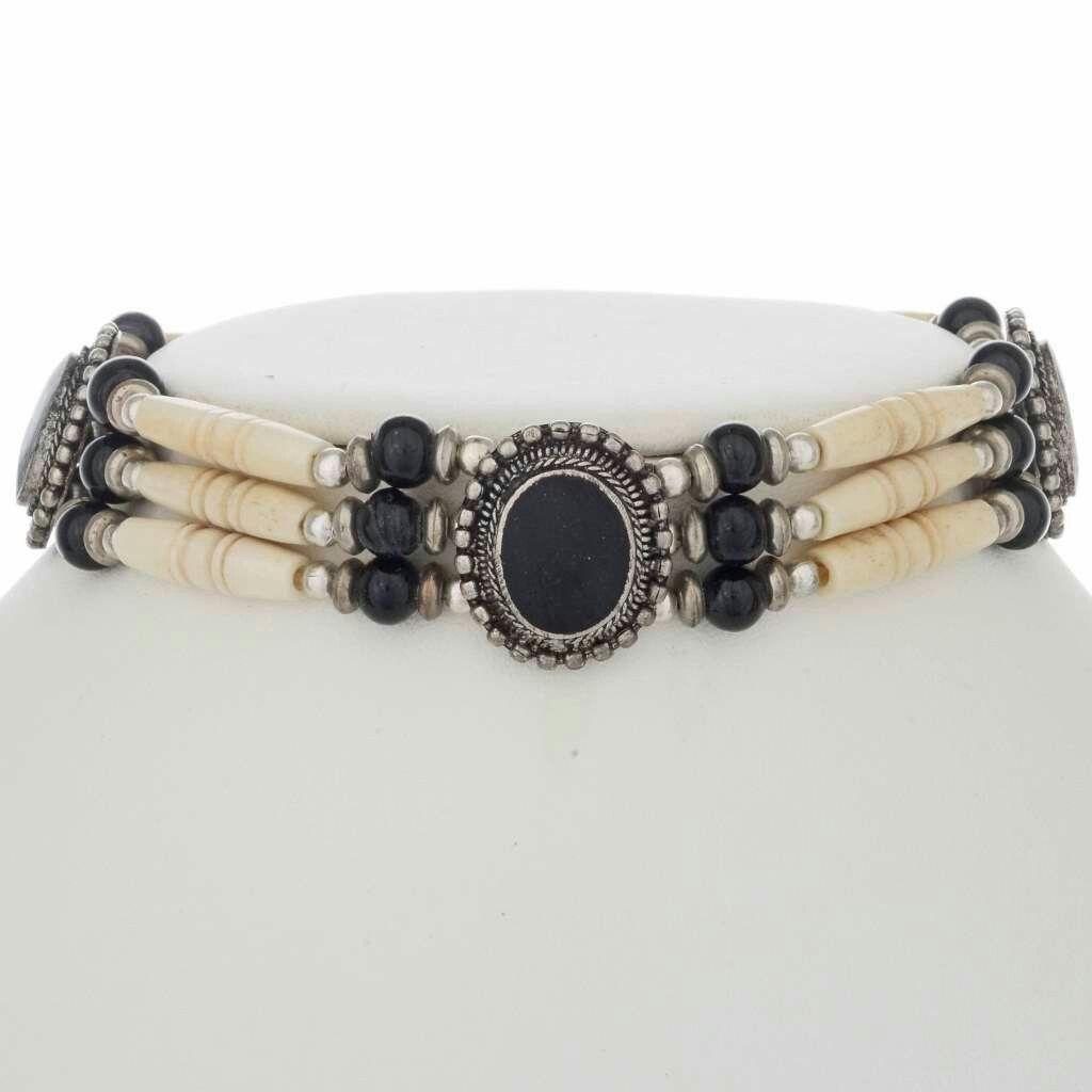 Apache Indian Style Bone Choker Onyx Necklace