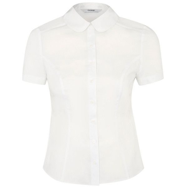 Curved Collar Blouse ($7.34) ❤ liked on Polyvore featuring tops, blouses, shirts, blusas, camisas, collared shirt, collar blouse, shirt tops, white shirt blouse and white top