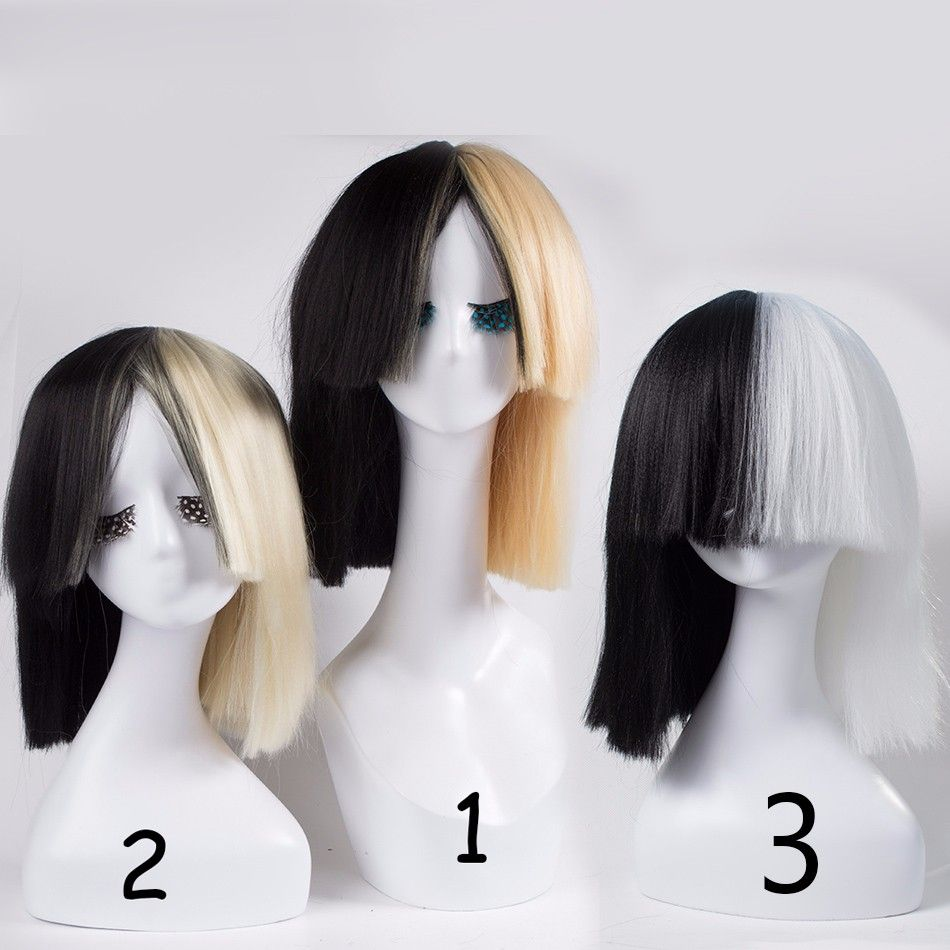 Blonde Sia Wig Thick Blunt Bob Top Cosplay Womens Half And Black 2 Tone