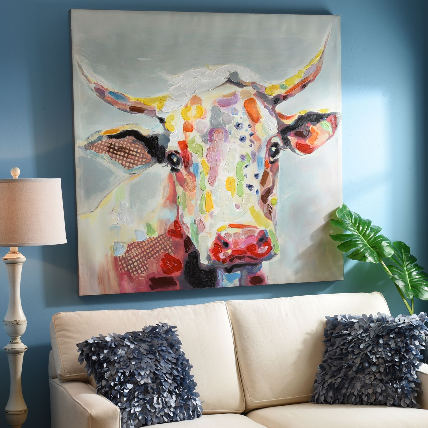 Betsy cow canvas art print 50x50 cow canvases and printing for Cow painting print