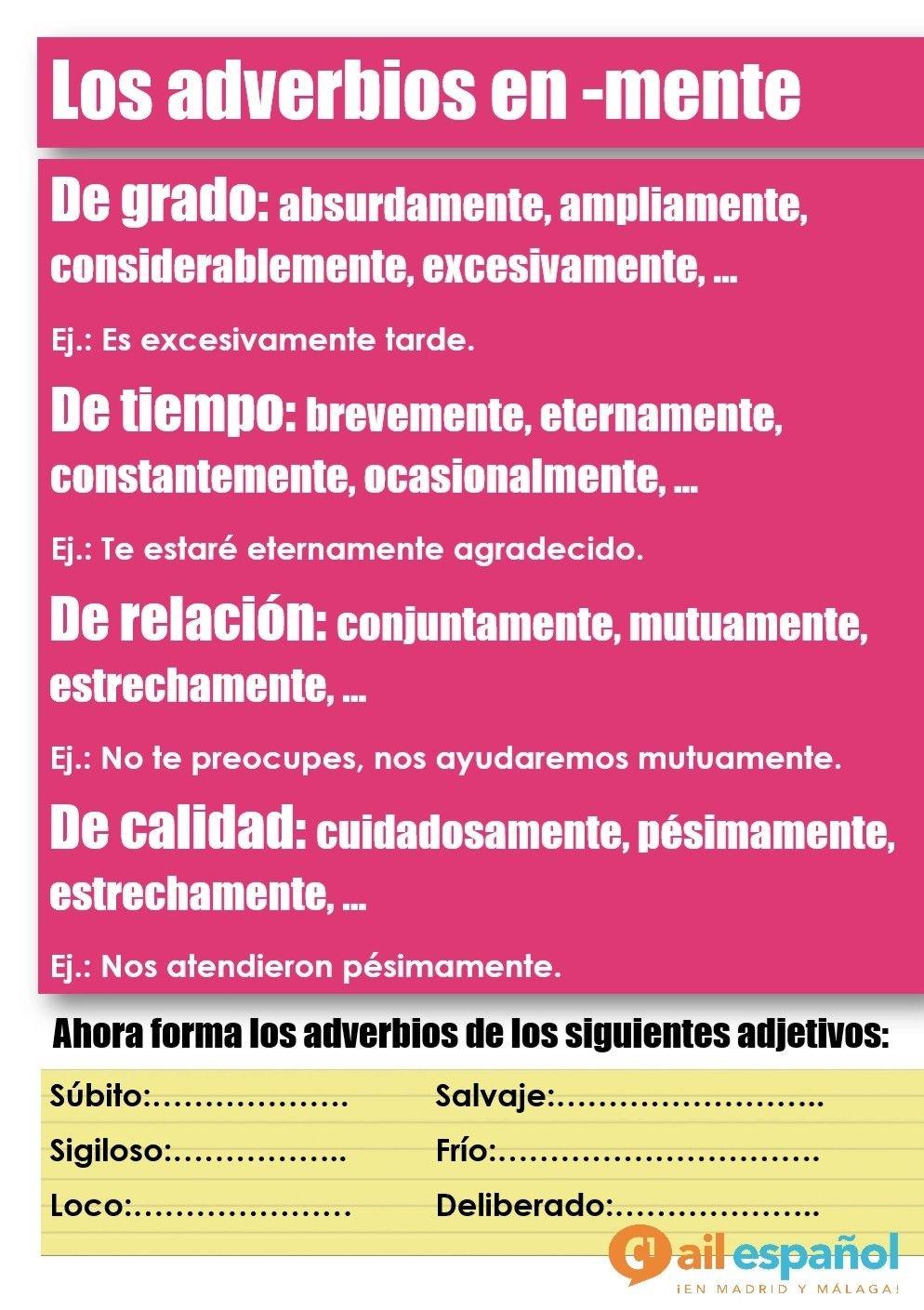 Los Adverbios En Mente Spanish Language School Language School Learning Spanish