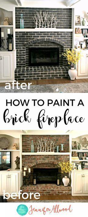How to Paint a Black Brick Fireplace #whitebrickfireplace