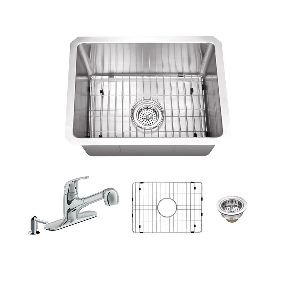 Ipt Sink Company All In One Undermount Stainless Steel 20 In Single Bowl Kitchen Sink With Polished Chrome Kitchen Faucet Iptra1520p5828cp Sink Single Bowl Kitchen Sink Bar Sink