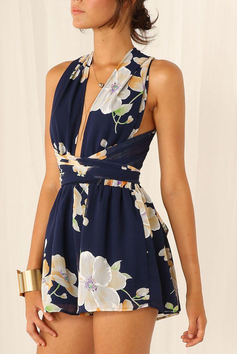 dc9cb2282824 Black Criss Cross Floral Slim Jumpsuit -SheIn(Sheinside)
