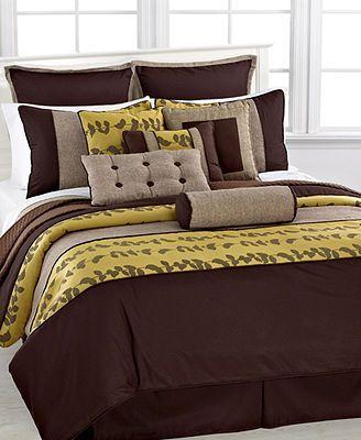 Khloe 12 Piece Full Comforter Set Comforter Sets Luxury Comforter Sets Brown Bed 12 piece queen comforter set