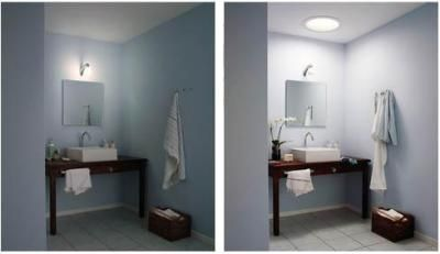 Before And After View Of Bathroom With Solar Tube Installation - Bathroom tubes