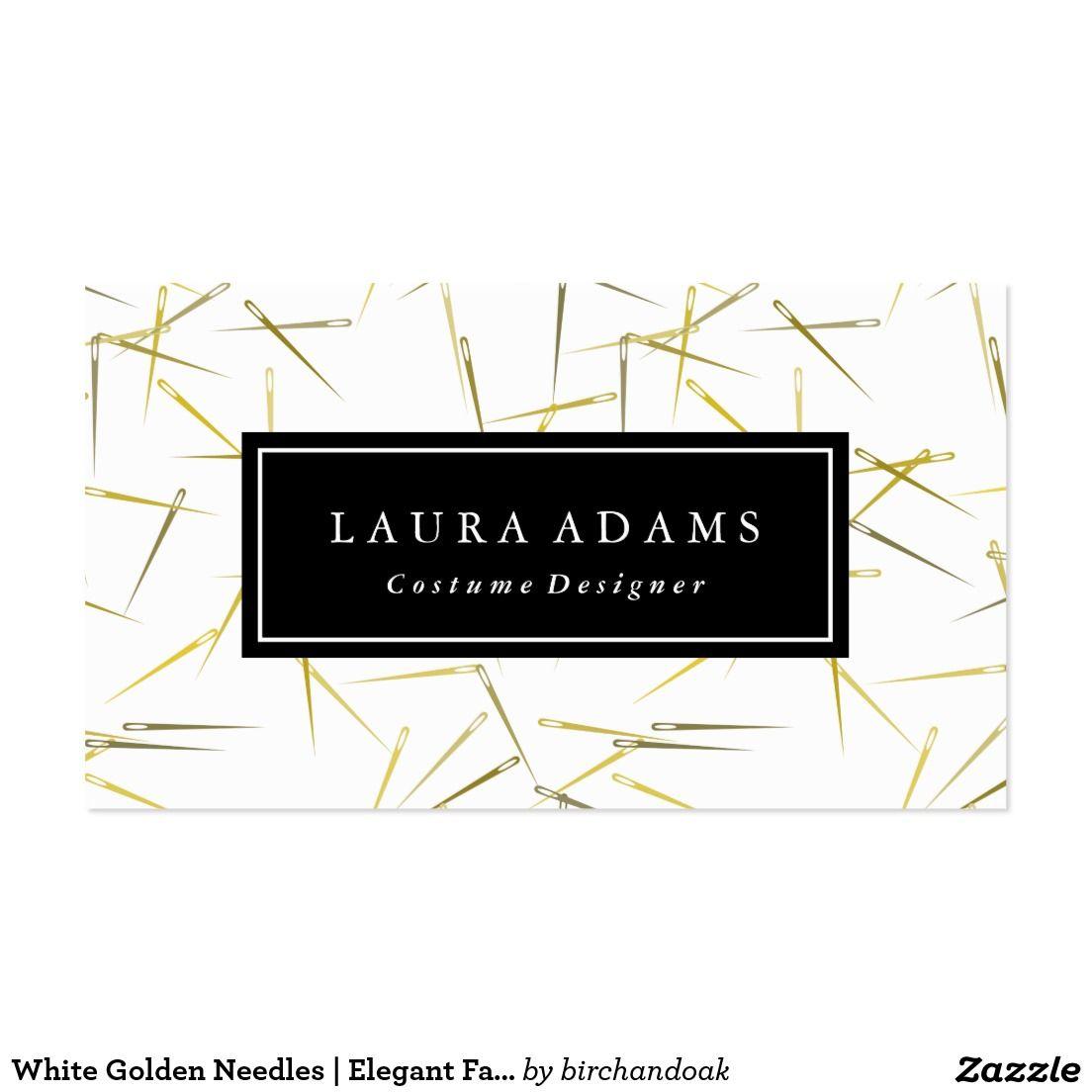 White golden needles elegant fashion designer business card white golden needles elegant fashion designer business card magicingreecefo Images