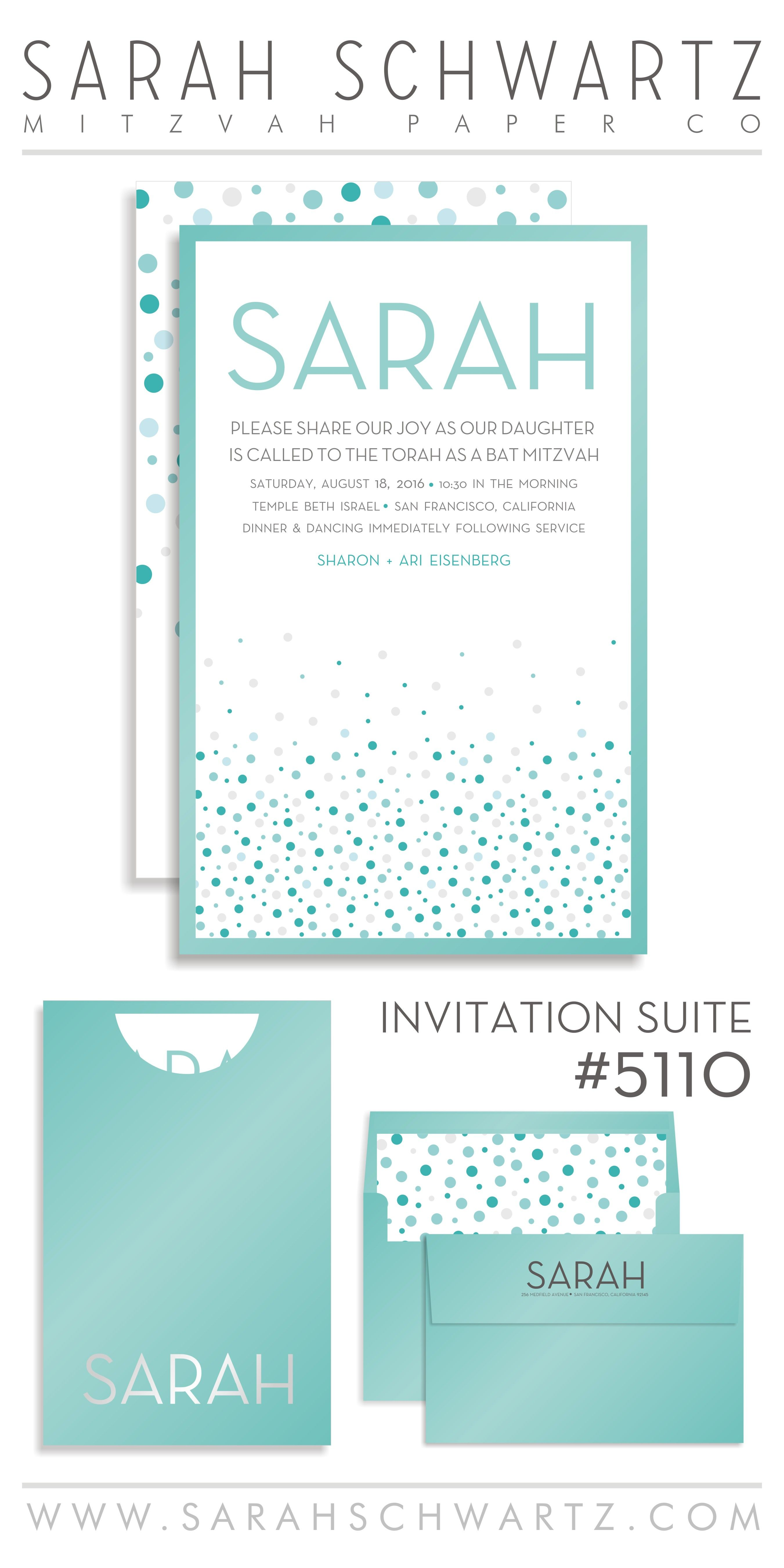 A Bat Mitzvah Invitation suite in tiffany blue with a fun blue and ...