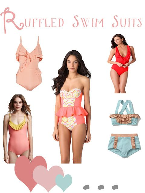 ruffled swim suits | and all but the middle one look like they'd work for busty girls like me!