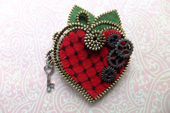 Hearts Felt Steampunk Zipper Brooch For Coat by MsLolaCreates, $28.00