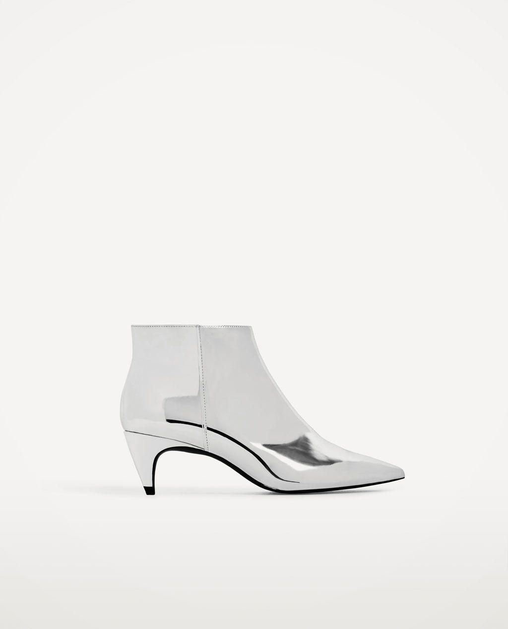 Image 2 Of Silver High Heel Ankle Boots From Zara Hal Hoga Klackar Skor