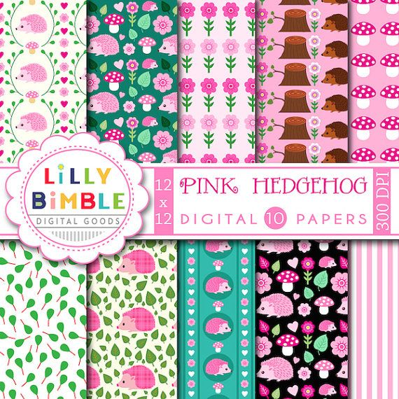 40% de descuento papel Scrapbook Digital de erizo por LillyBimble