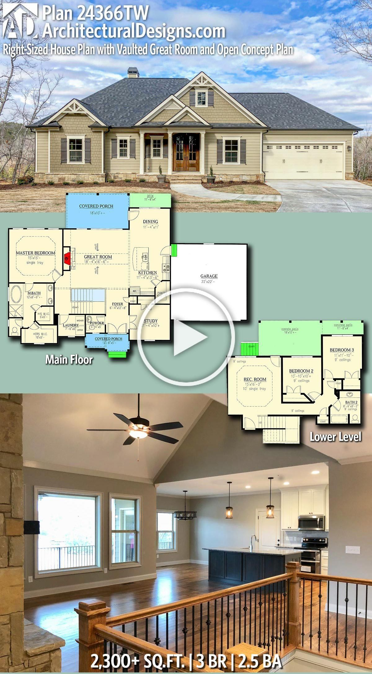 Architectural Designs House Plan 24366tw Has 3 Beds And 2 5 Baths And 2 300 Square Feet Architectural Design House Plans House Plans New House Plans