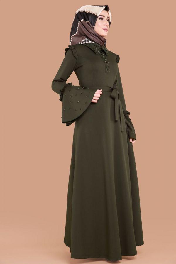 Inci Detay Tesettur Elbise Prm3015 S Haki Moda Selvim Model Pakaian Hijab Model Pakaian