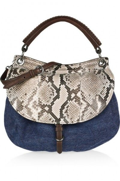 Miu Miu Denim and python shoulder bag $1,750
