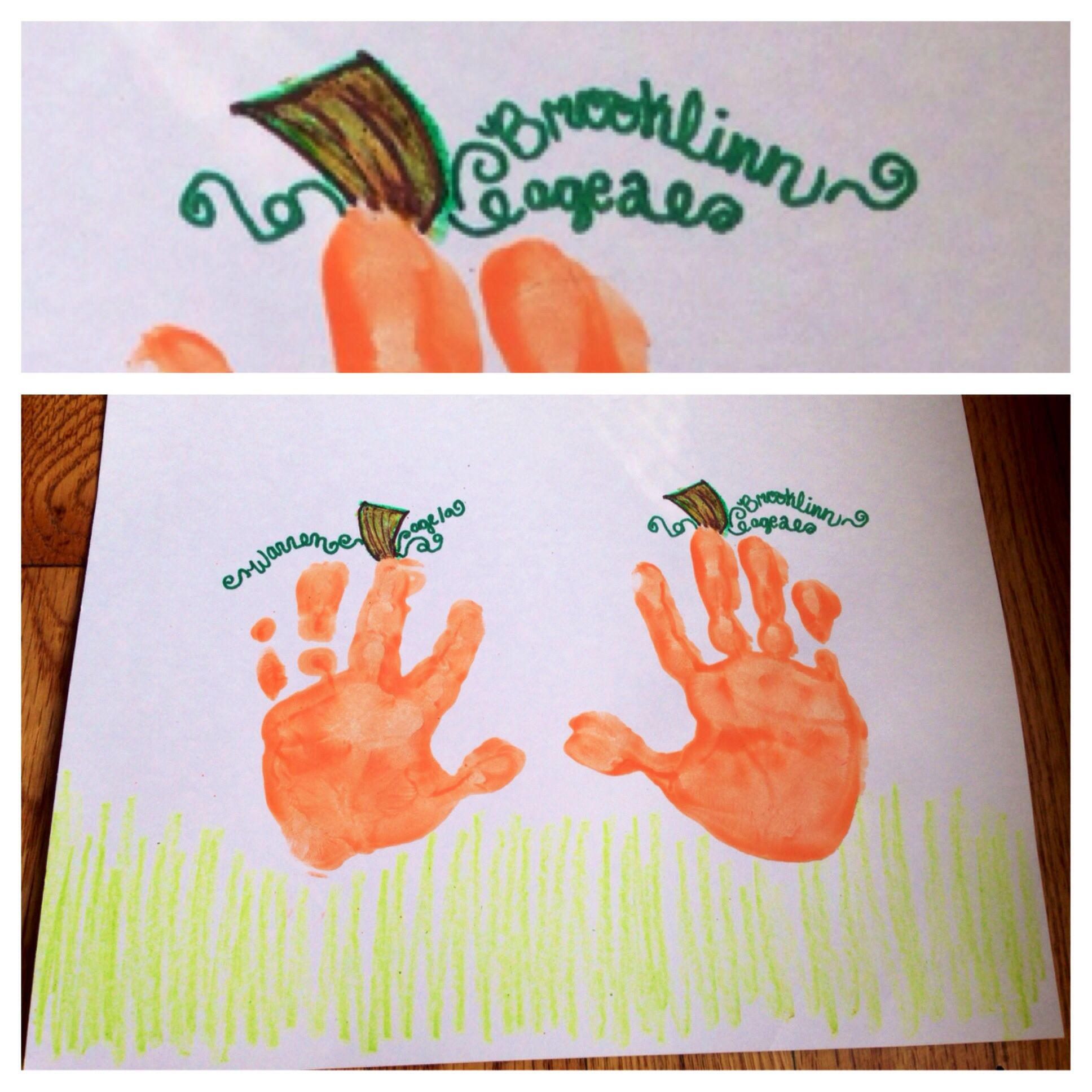 Pumpkin Craft Ideas For Kids Part - 25: Fall Pumpkin Handprint Craft For Kids - Write Their Names And Ages In The  Vines :