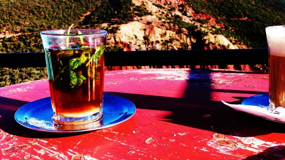 Morocco, fresh mint tea in the hills