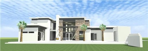This is an ultra modern house plan with 2 bedroom suites