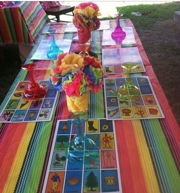 mexican table decor loteria mexicana pinterest mexicans fiestas and mexican party. Black Bedroom Furniture Sets. Home Design Ideas