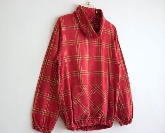 SALE Vintage Red Tartan Plaids Sweatshirt/ by PaintYourWagonShop