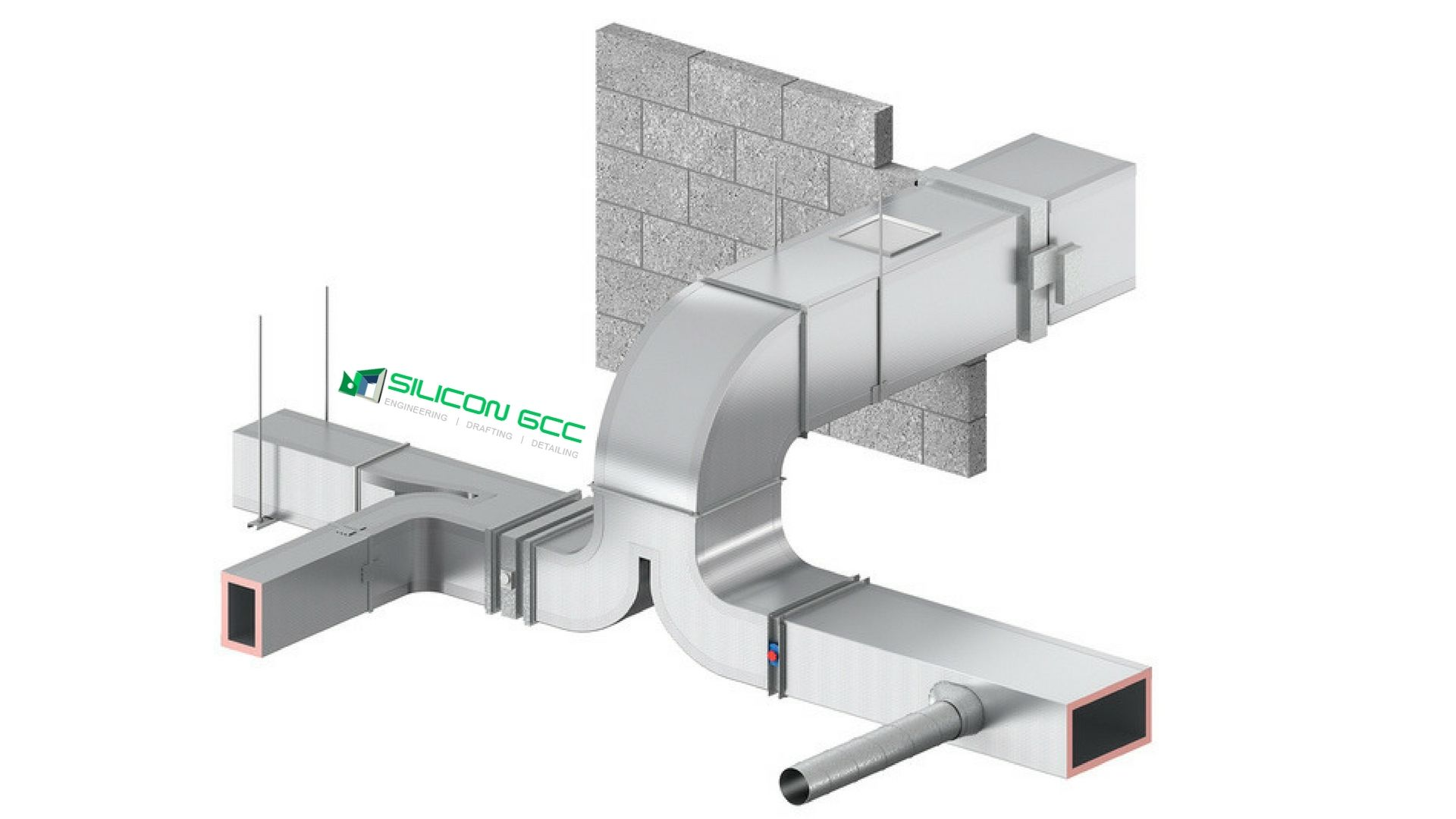 hight resolution of hvac duct components incorporate programmed drawing of extensive rectangular and circular duct fittings fire dampers flex ducts control dampers and