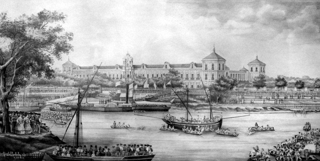 Celebración de la cucaña a orillas del Palacio de San Telmo, residencia en Sevilla de los duques de Montpensier