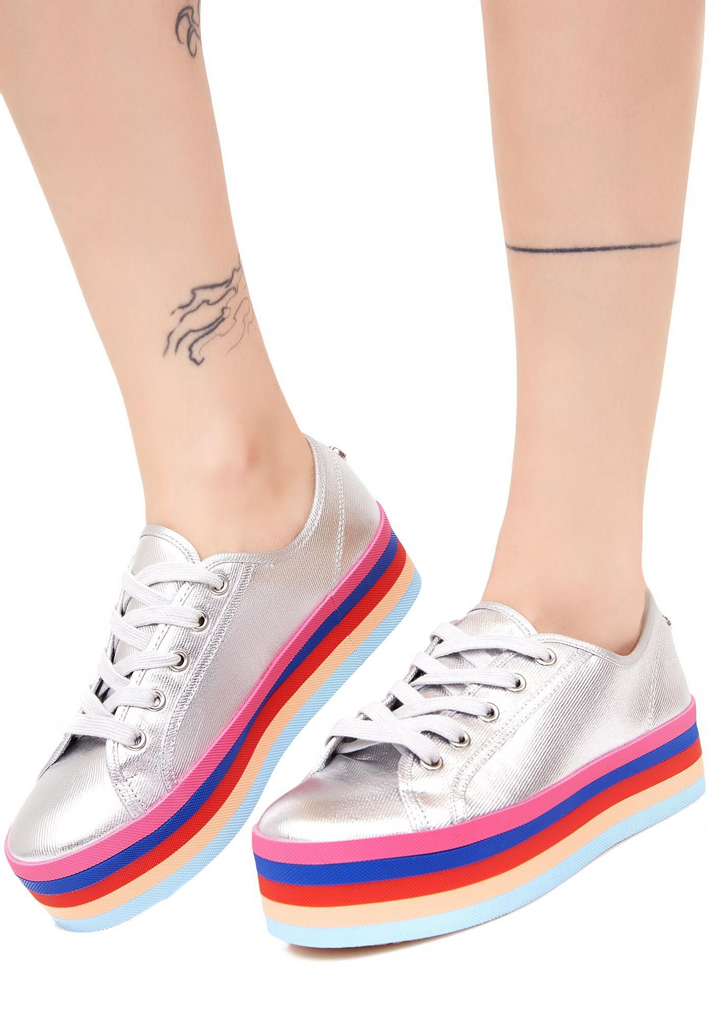 ad55e87bfec Steve Madden Rainbow Sole Lace-Up Shoes will keep it bright N  sunny for  ya. These cute silver shoes have a striped platform sole and a lace-up  front.