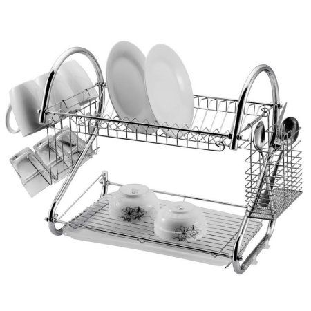 2 TIER DISH DRAINER SINK RACK CHROME PLATE CUTLERY CUP DRIP TRAY PLATES HOLDER