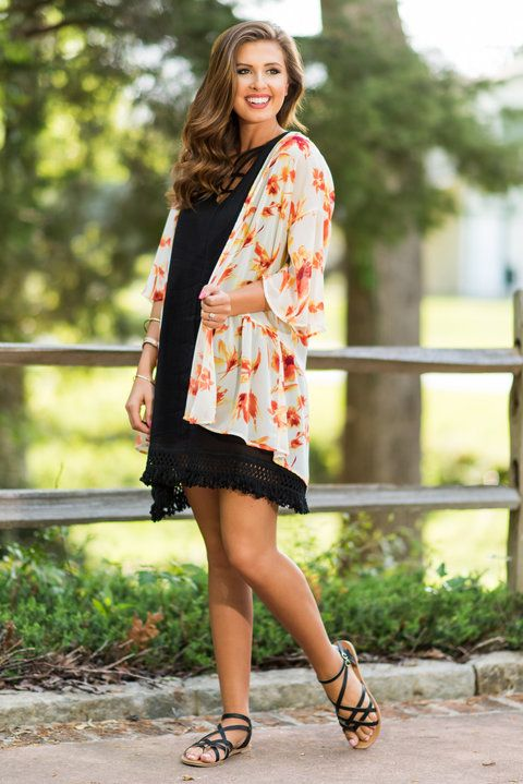 """""""Sunny Days Kimono, Off White""""This kimono is so bright and sunny! The colors are so appropriate for summer! #newarrivals #shopthemint"""