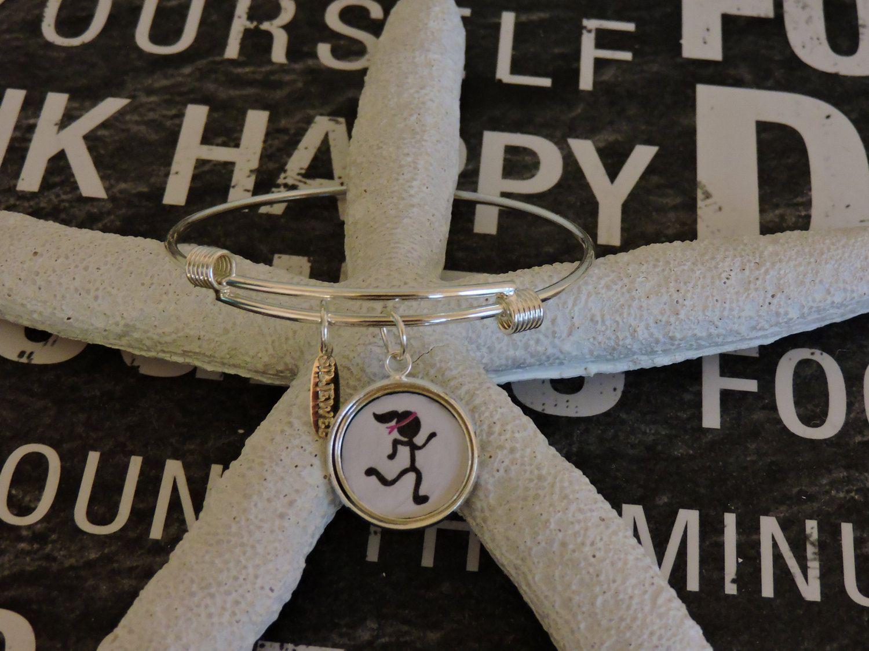 Charm Bracelet, Adjustable Bangle, Runner Charm, Bangle Bracelet, Silver Charm, Stackable, Dangle Charm Bracelet, Athelet Charm, Girl Charm by SILJEWEL on Etsy