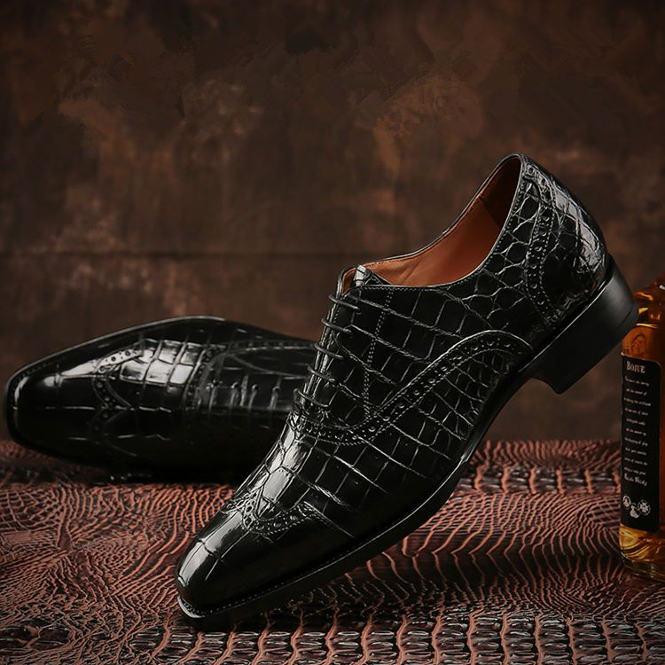 Men/'s Ankle Boots Genuine Crocodile Leather Pointy Toe Formal Wedding Shoes New