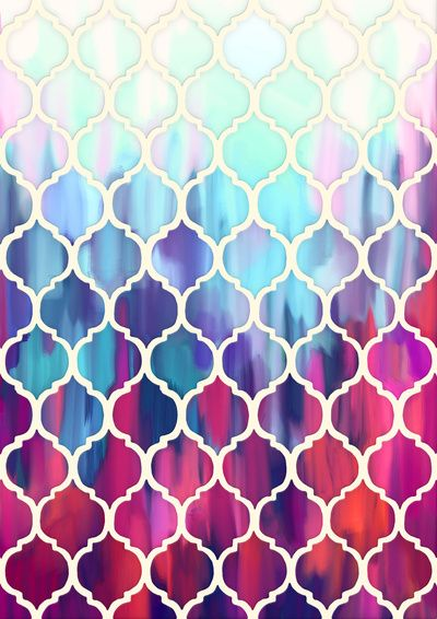 Moroccan Meltdown Pink Purple Aqua Painted Tiles Art